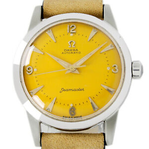 Omega Seamaster Automatic Yellow Dial 2577 Half Rotor Men's Steel Wrist Watch