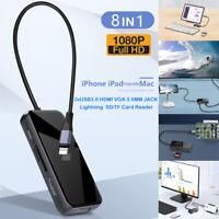 USB 3.0 HDMI VGA Charging Adapter OTG Hub For aPhone 12 XS XR 11 Pro Max aPad SE