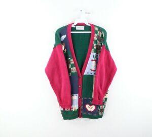 Vintage 90s Streetwear Womens XL Embroidered Patchwork Teacher Cadigan Sweater