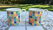2 VILLEROY & BOCH Twist Alea Limone Coffee Mugs Yellow w/Multicolor Tile Rim VG