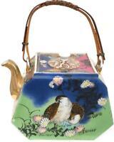 Meiji period Japanese Teapot Signed Nippon art deco quail Antique HP noritake