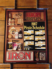 1987 PITTSBURGH PIRATES POSTER SCHEDULE IRON CITY BEER 23 X 18 INCHES QTY