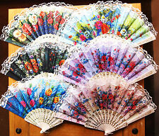 1xFlower Patterns Folding Hand Fans,Spanish Style,Wedding, Party,23cm