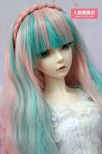 BJD Doll 1/3 9-10 Wig Long Curly Hair Braid Straight Bangs for Girl Pink Green