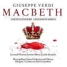 CD Giuseppe Verdi Macbeth 2cds assunzione totale, Erich lessile villaggio, Leonard Warren