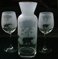 Elephant under tree gift 3 piece wine carafe set. Boxed