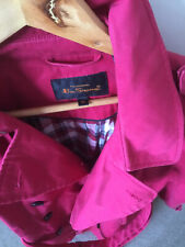 Ben Sherman Gorgeous Size XL Pink Cotton Trench Coat/Jacket Pocket Buttons Tie