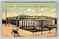 US Treasury, Washington Monument, Streetcar, Vintage Washington DC Postcard