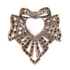 MOTHER OF PEARL HEART PIN Brooch & Pendant Combo Marcasite .925 STERLING SILVER