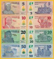 Nigeria Set of 4 banknotes: 5, 10, 20, 50 Naira 2018-2019 UNC Polymer