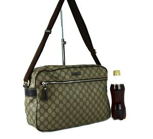 Authentic GUCCI GG PVC & Brown Leather Large Crossbody Bag Sling Bag Purse Italy