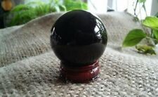 Black Obsidian Orb Sphere,40mm,w/Stand,Grounding,Release Negativity,ShipsFromUSA
