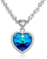 Heart of the Ocean Blue Crystal Necklace Heart Pendant for Women Gift