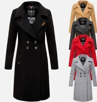 Navahoo Damen Business Mantel Trenchcoat lang woll mantel wintermantel Jacke Neu