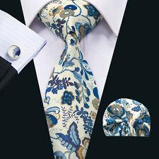 SN-1355 Blue Floral Mens Tie 100% Cotton Necktie Cufflinks hanky Wedding Party