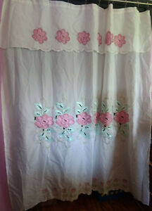 """Ruffled Shower Curtain White With Beautiful Pink Flowers 72"""" Long x 69"""" Wide"""