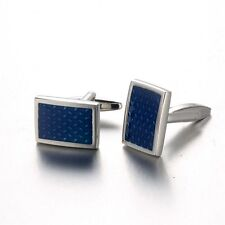 Classical Silver Cufflinks With Gift Square Blue Crystal Cuff Links Present Male