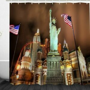Shower Curtain Statue of Liberty American Flag Empire State Building Design