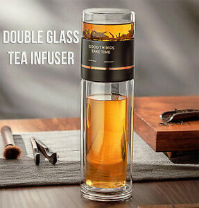 Double Glass Tea Infuser Travel Tumbler Water Bottle Drinkware USA FREE SHIPPING