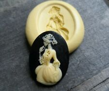 Gothic Skeleton Lady cameo silicone push mold mould polymer clay resin food safe