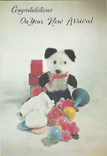 Vintage 1970s New Baby Congratulations Greeting Card - Panda Bear Teddy