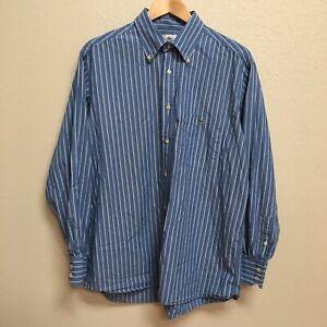 LACOSTE 44 XL Dress Shirt Long Sleeve Button Up Alligator Logo Blue Striped