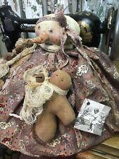 New ListingPrimitive Fall Snowman Doll, Gingerbread Doll,Old Fabric, Folk Art Snowman Doll