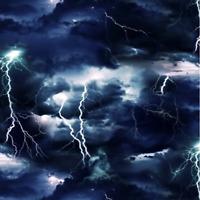 Landscape Medley Dark Stormy Black Sky Lightning 100% Cotton fabric by the yard