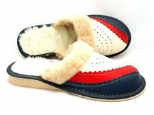 Ladies/Womens 100% Natural Leather Slippers Size:3,4,5,6,7,