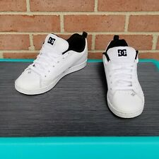 DC Shoes Court Graffik SE Leather White/Silver Mens Size 5 Skateboarding