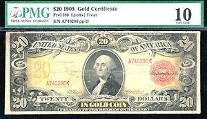 1905, $20 FR#1180-Gold Certificate-PCGS 10- Technicolor