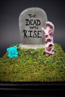 Zombie Tombstone Plaque - Handcrafted OOAK Horror Art Halloween Horror Doll