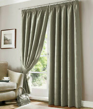 "Pencil Pleat Lined Curtains 90"" wide x 54"" drop. Picasso Green CLEARNCE"