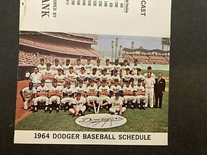 1964 LA Dodgers pocket schedule Los Angeles games Security Bank baseball Dodger