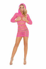 Elegant Moments Vivace Hooded Open Bust Netted Mini Dress Neon Pink One Size