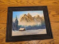 Antique Carved Wood Picture Frame Original Oil Painting Mountain Snow Xmas Vtg