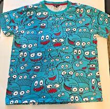 Men's Imperious Fun Blue Smiling Big Eyes Alien Monster T-shirt Humorous Image