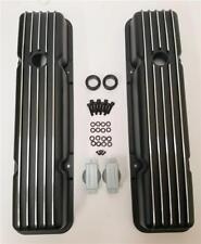 Retro Small Block Chevy Finned Aluminum Short Valve Covers BLACK SB SBC 327 350