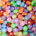 7mm Mix Colors Acrylic Heart Beads Round Beads Spacer beads 100pcs/bag 10314350