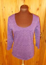 PER UNA M&S purple wavy stripe stretch 3/4 sleeve tunic t-shirt top 12 40