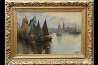 Huile sur toile XIXème, signé P.Camus, port de pêche