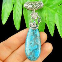 Tibet Silver Bail Flower & Blue Crazy Lace Agate Teardrop Pendant Bead