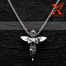 """Little Angel Pendant Necklace 24""""Chain 3Mm Stainless Steel Silver Hip Hop Micro"""