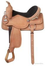 16 Inch Western Saddle-Roughout Leather-Barbwire Tooling-Rawhide Laced Cantle