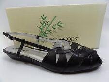 Annie Shoes Women's Kim Wide Calf Wedge BLACK Sandal SZ 9.5 WIDE  NEW,     D6086