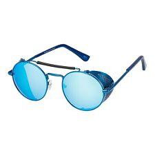 Blue Steampunk Glasses Cyber Round Retro Goggles Vintage Blinder Sunglasses UK