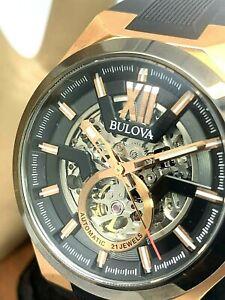 Bulova Men's Watch 98A177 Automatic 21J Skeleton Dial Rose Gold Tone S. Steel