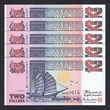 1992 SINGAPORE SHIP 2 DOLLARS P-28 UNC *TDLR* LOT 5 PCS
