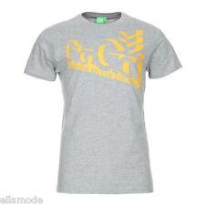 Gio-Goi Mens Grey Marl & Yellow Tizzent Logo T Shirt Top BNWT Free UK Ship Small
