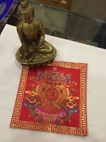 Tibetan Red Auspicious Symbol silk brocade table cover/ altar cloth/ shrine mat